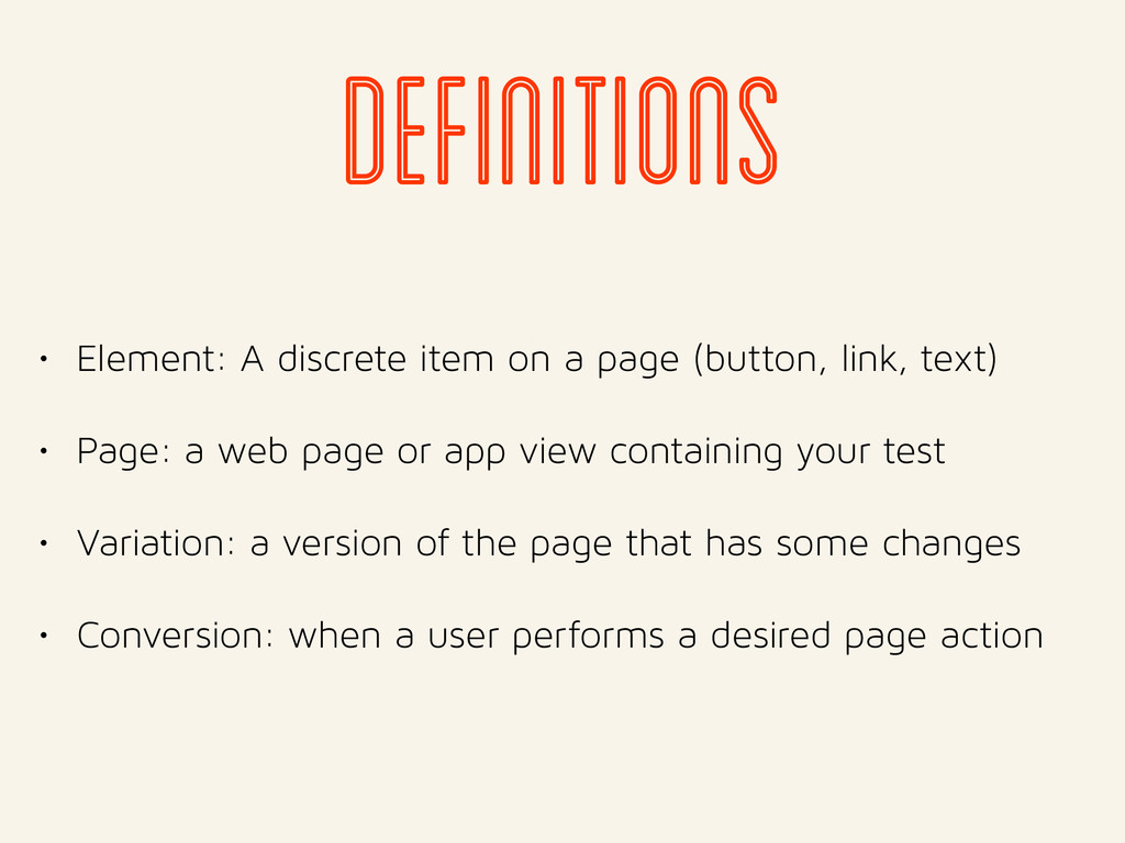 definitions • Element: A discrete item on a pag...