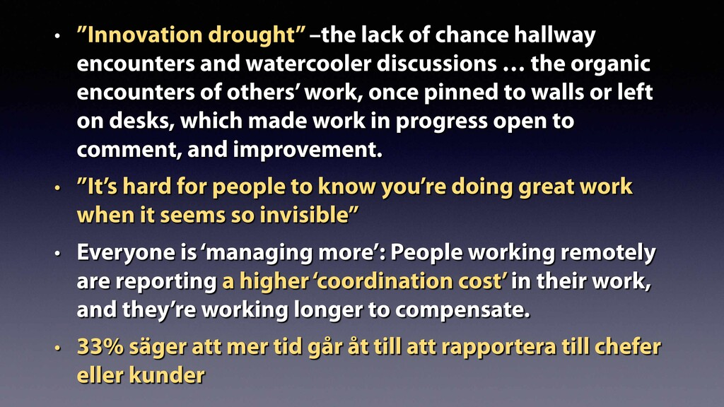 """• """"Innovation drought"""" –the lack of chance hall..."""