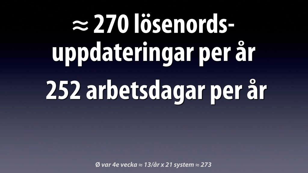 ≈ 270 lösenords- uppdateringar per år Ø var 4e ...