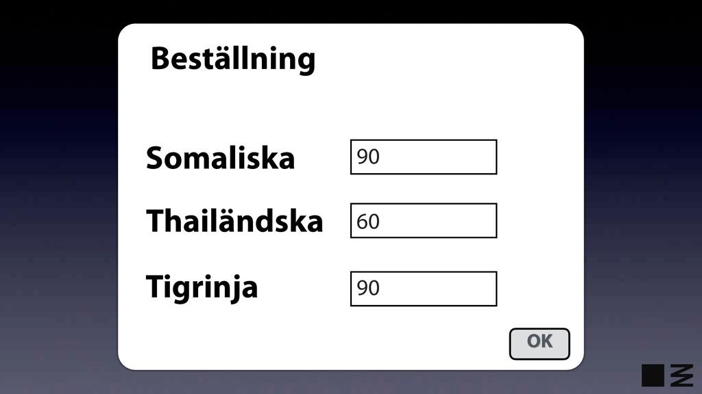 Beställning Somaliska Thailändska Tigrinja 90 6...