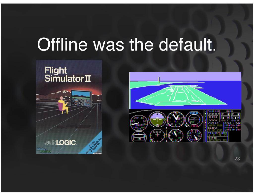 Offline was the default. 28