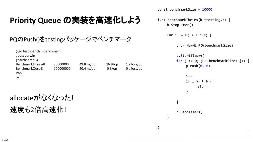 Priority Queue の実装を高速化しよう PQのPush()をtestingパッケー...