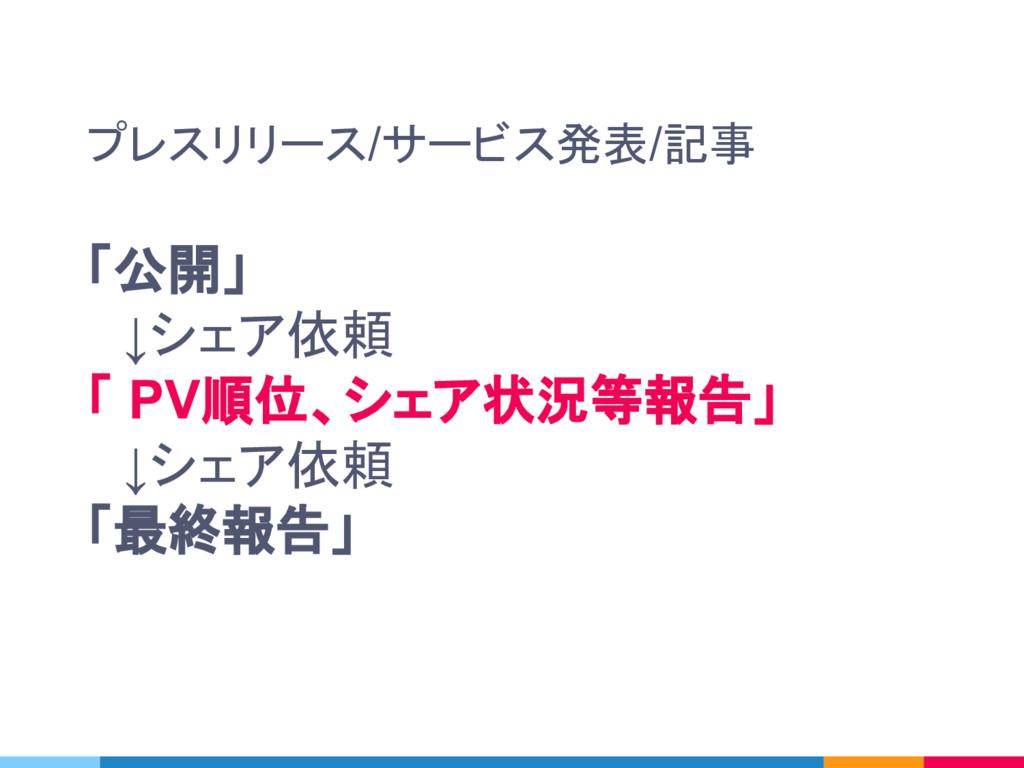 プレスリリース/サービス発表/記事 「公開」  ↓シェア依頼 「 PV順位、シェア状況等報告」...