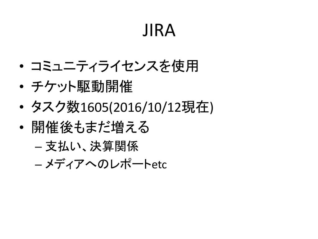 JIRA • コミュニティライセンスを使用 • チケット駆動開催 • タスク数1605(201...