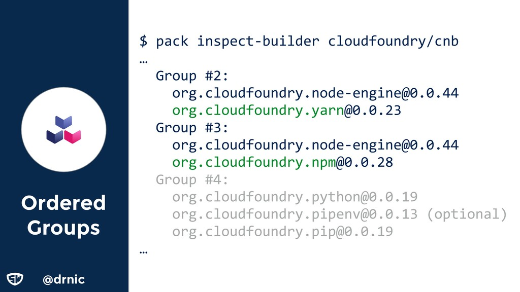 @drnic Ordered Groups $ pack inspect-builder cl...