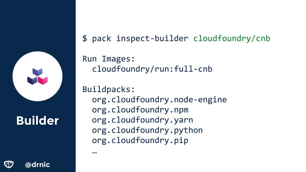 @drnic Builder $ pack inspect-builder cloudfoun...