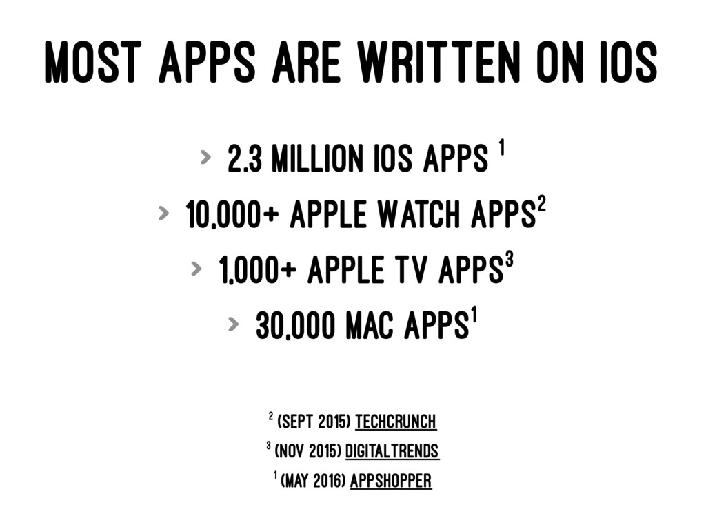 MOST APPS ARE WRITTEN ON IOS > 2.3 million iOS ...