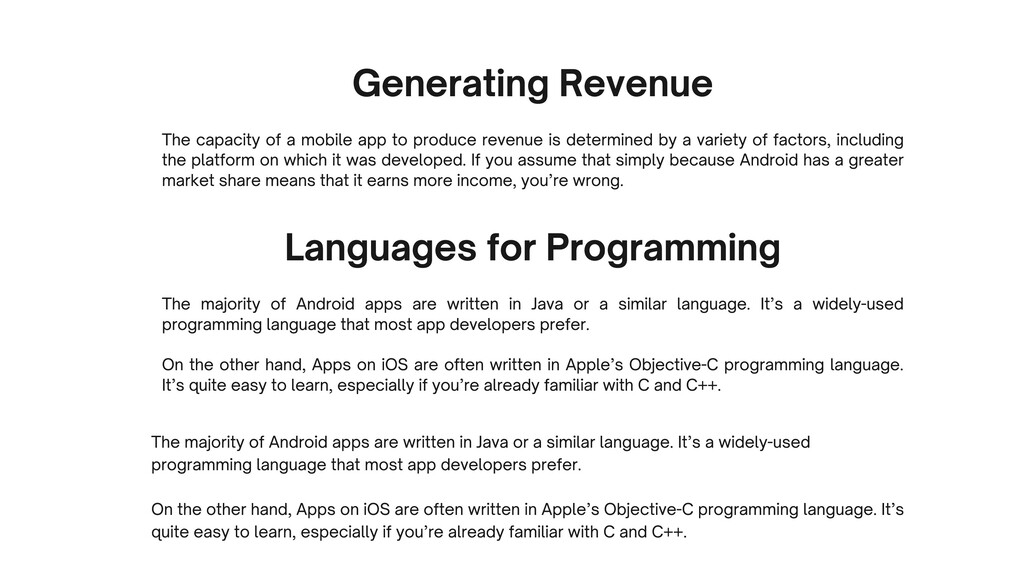 Generating Revenue The capacity of a mobile app...