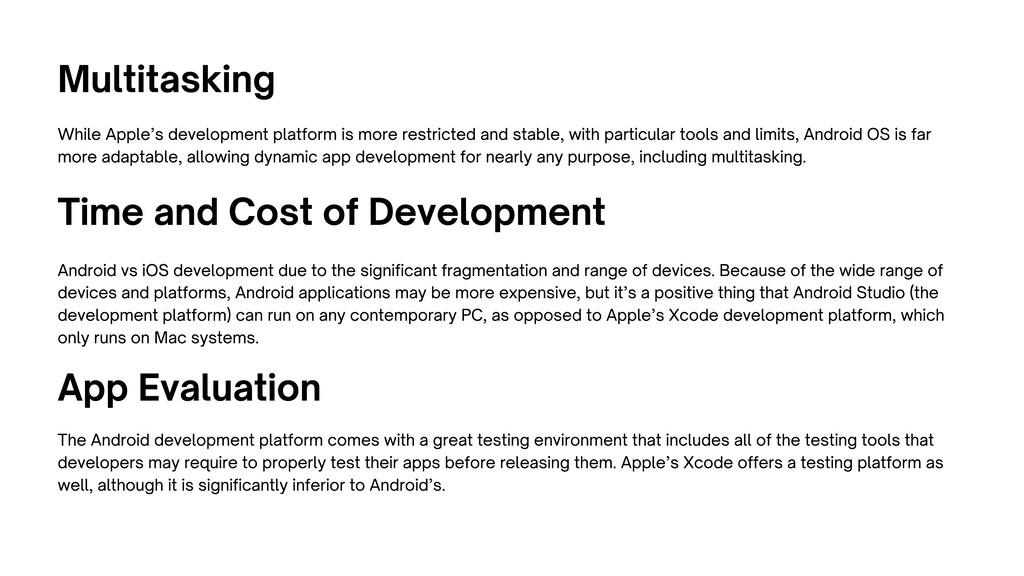 Multitasking While Apple's development platform...