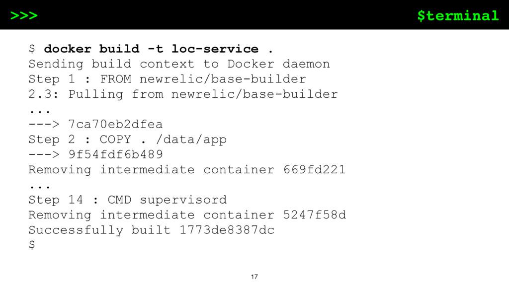 $terminal >>> 17 $ docker build -t loc-service ...