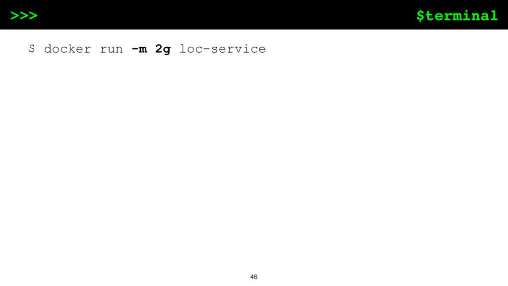 $terminal >>> 46 $ docker run -m 2g loc-service
