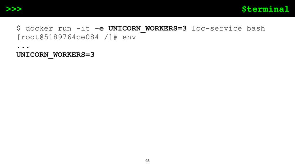 $terminal >>> 48 $ docker run -it -e UNICORN_WO...