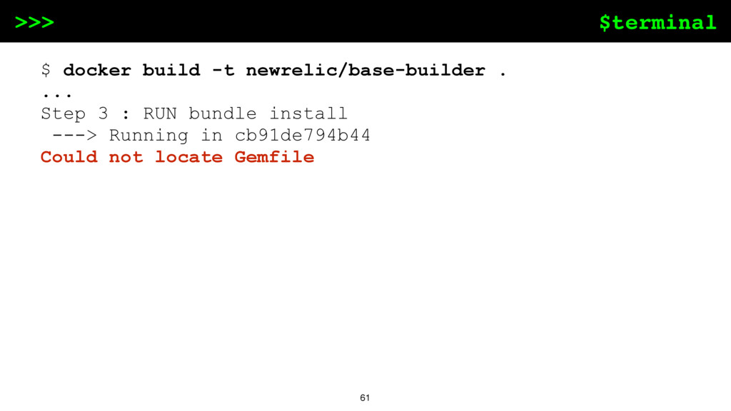 $terminal >>> 61 $ docker build -t newrelic/bas...