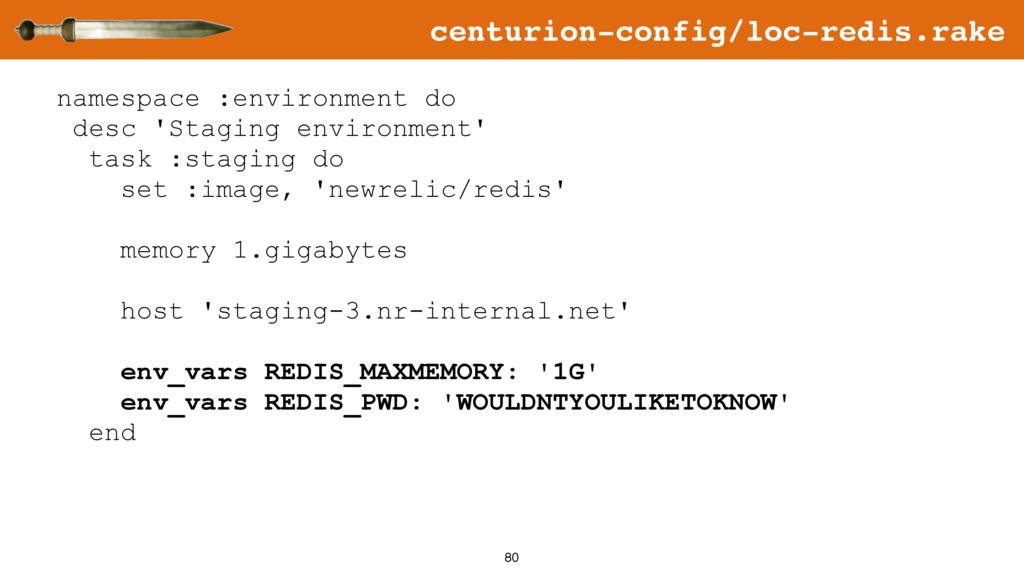 80 namespace :environment do desc 'Staging envi...