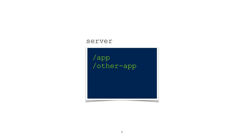 9 server /app /other-app