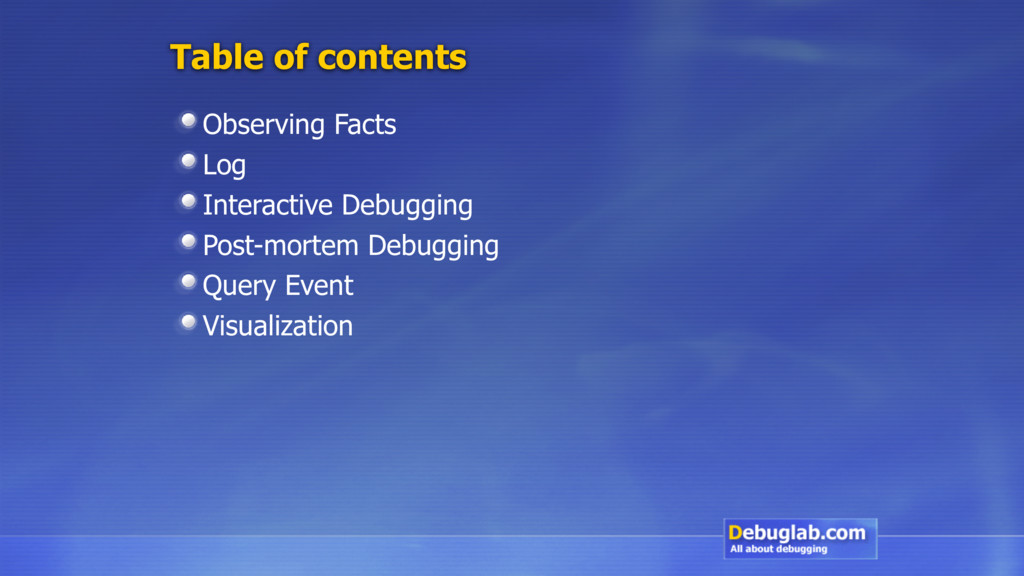 Table of contents Observing Facts Log Interacti...