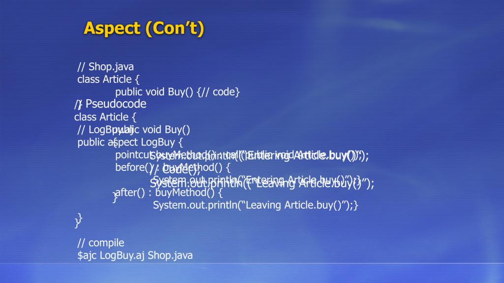 Aspect (Con't) // Shop.java class Article { pub...