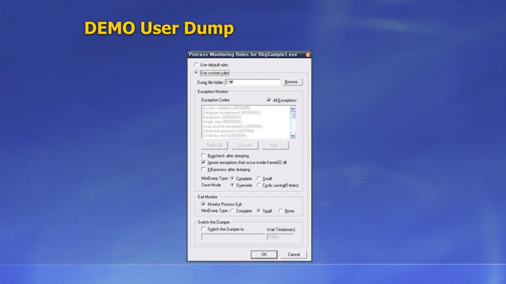 DEMO User Dump