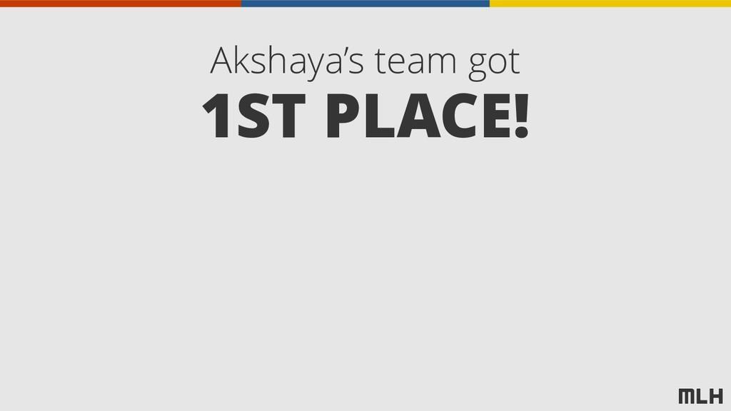 Akshaya's team got 1ST PLACE!