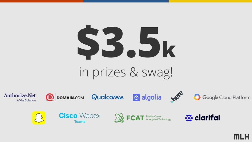 in prizes & swag! $3.5k