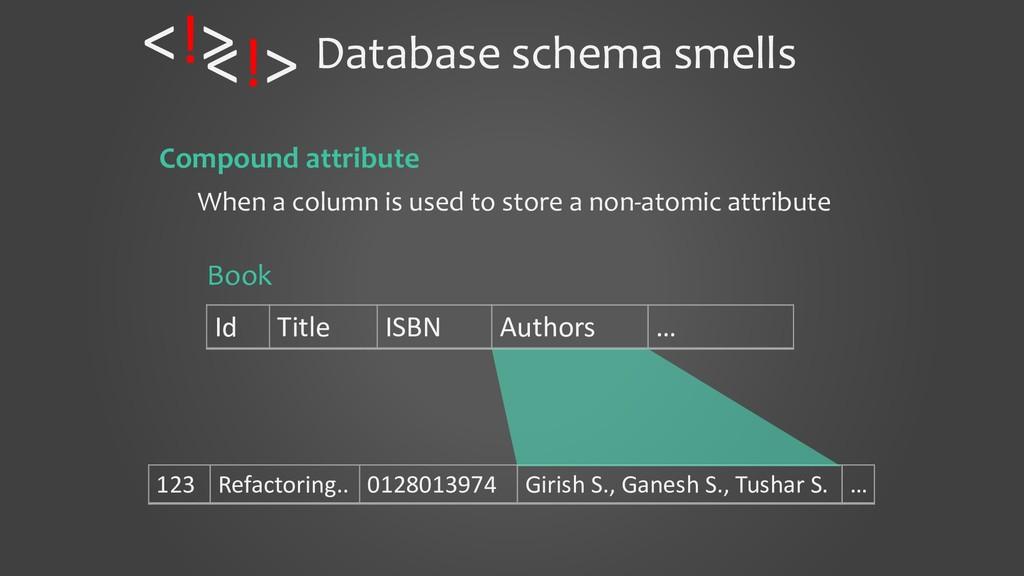 Database schema smells Compound attribute When ...