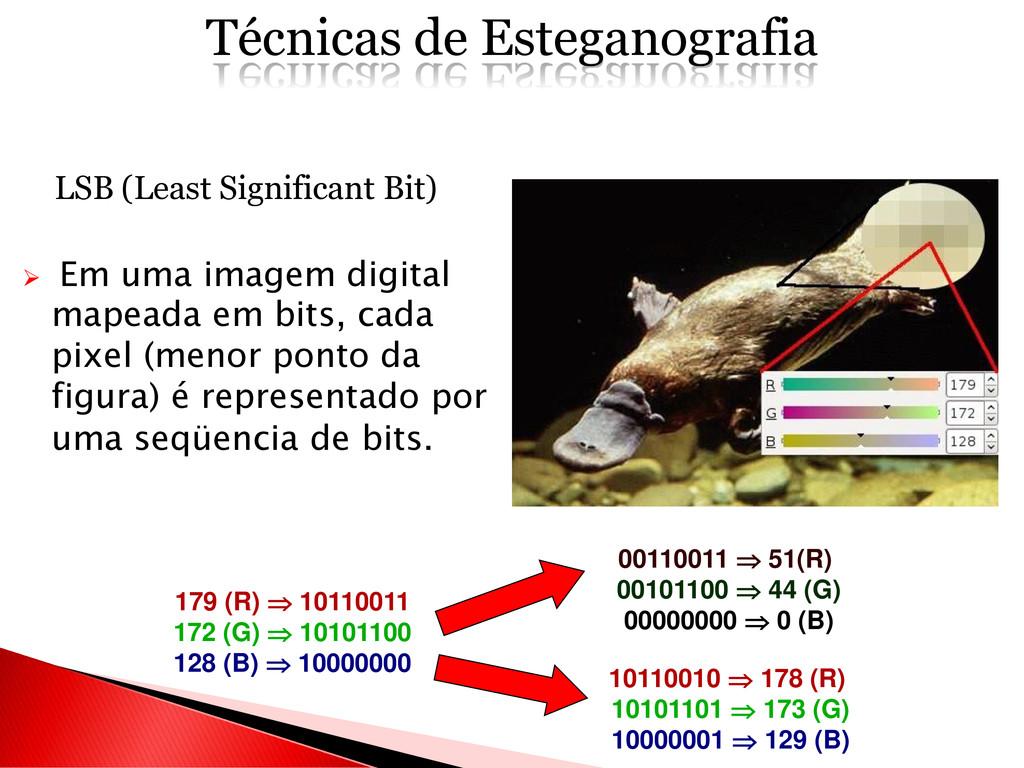 LSB (Least Significant Bit)  Em uma imagem dig...
