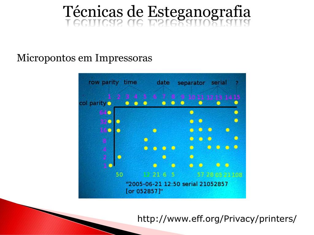 Micropontos em Impressoras Técnicas de Estegano...