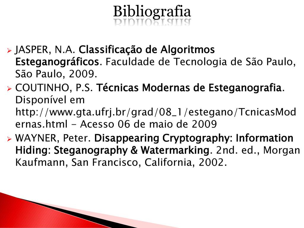  JASPER, N.A. Classificação de Algoritmos Este...