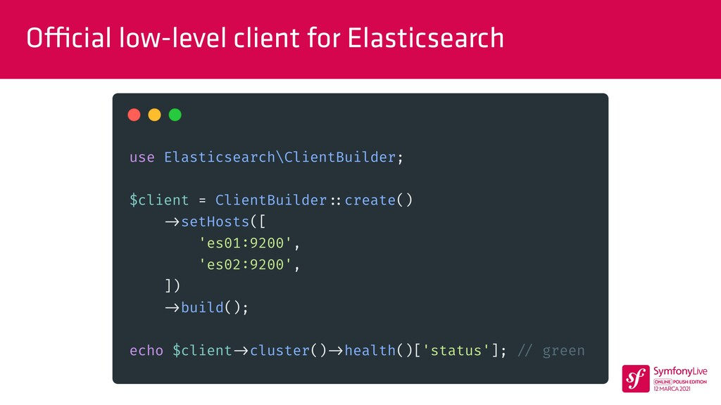O ffi cial low-level client for Elasticsearch