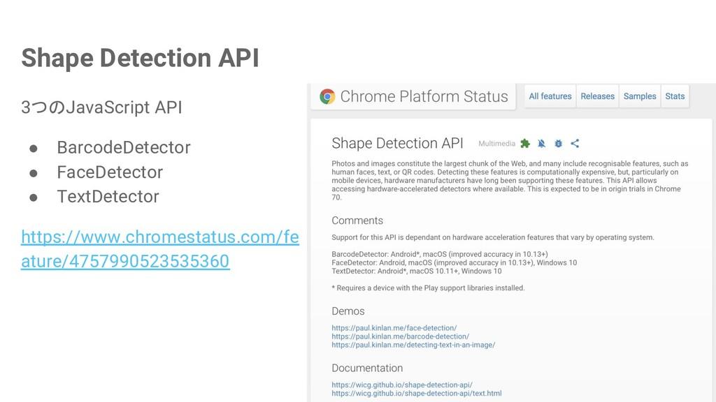 Shape Detection API 3つのJavaScript API ● Barcode...