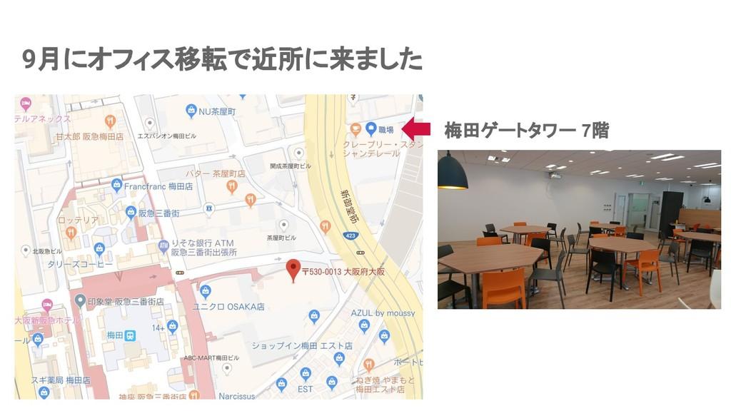 9月にオフィス移転で近所に来ました 梅田ゲートタワー 7階