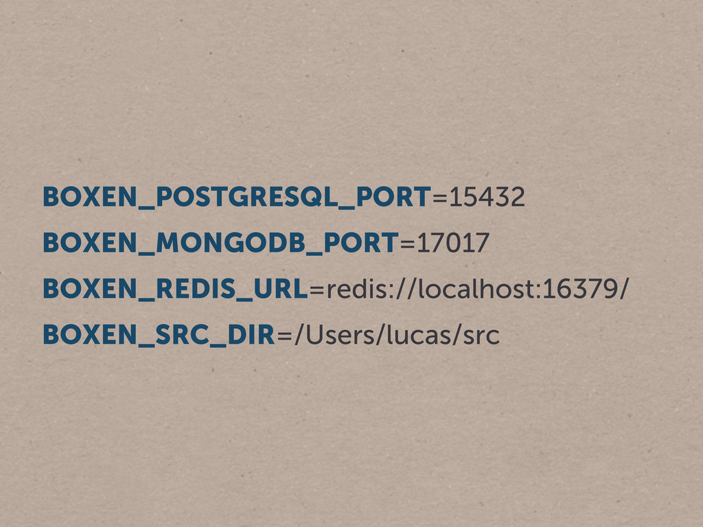 BOXEN_POSTGRESQL_PORT=15432 BOXEN_MONGODB_PORT=...