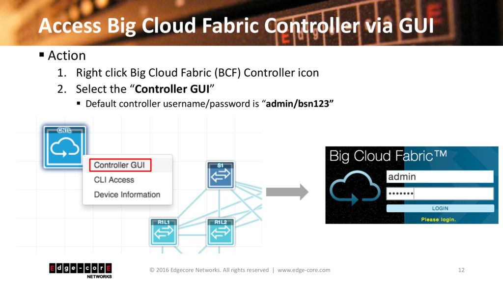 Access Big Cloud Fabric Controller via GUI 12 ©...