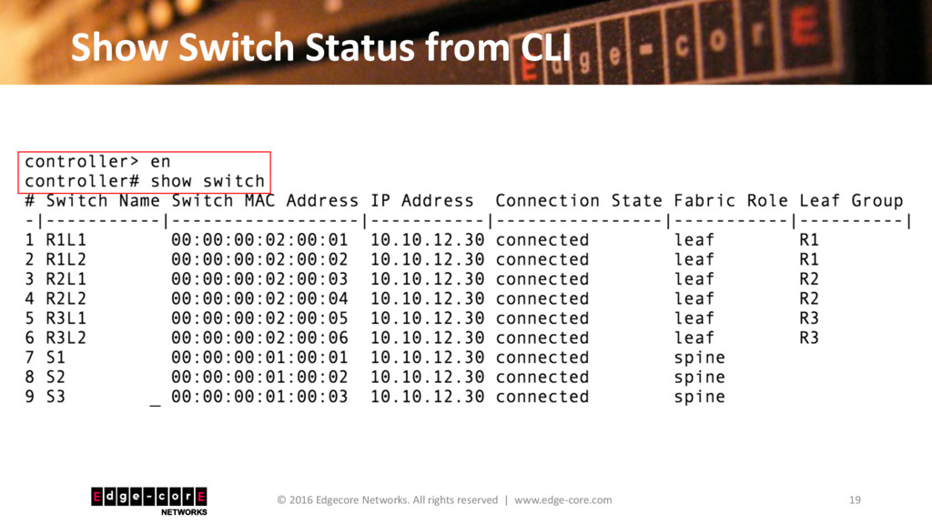 Show Switch Status from CLI 19 © 2016 Edgecore ...