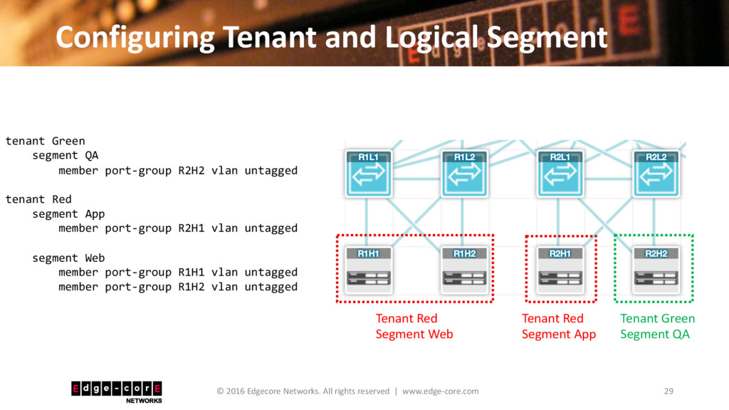 Configuring Tenant and Logical Segment 29 © 201...