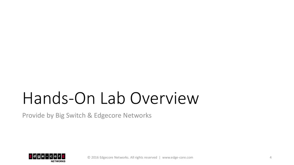 Hands-On Lab Overview Provide by Big Switch & E...