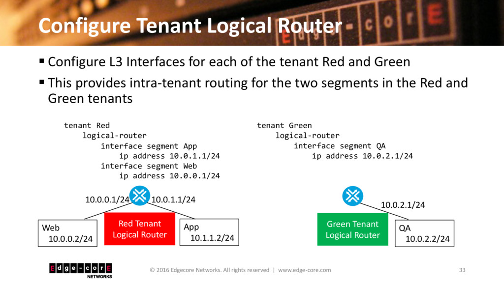 Configure Tenant Logical Router 33 © 2016 Edgec...