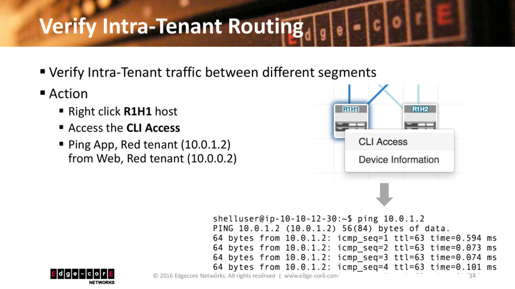 Verify Intra-Tenant Routing 34 © 2016 Edgecore ...