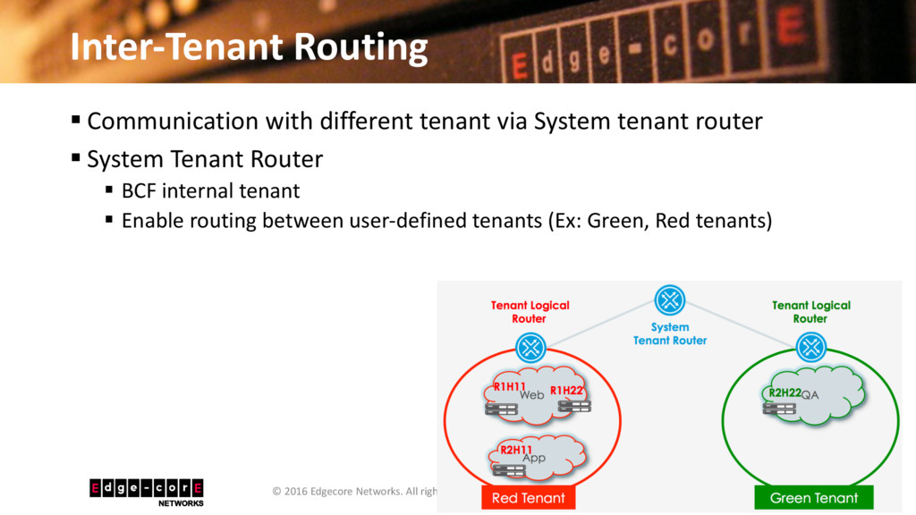 Inter-Tenant Routing 36 © 2016 Edgecore Network...