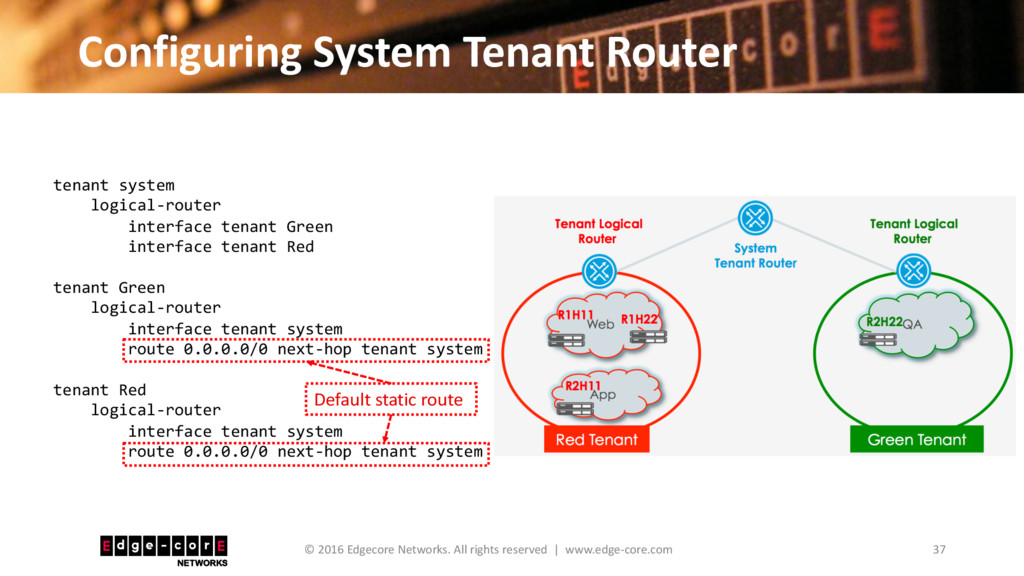 Configuring System Tenant Router 37 © 2016 Edge...