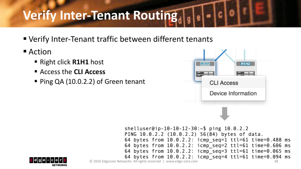 Verify Inter-Tenant Routing 38 © 2016 Edgecore ...