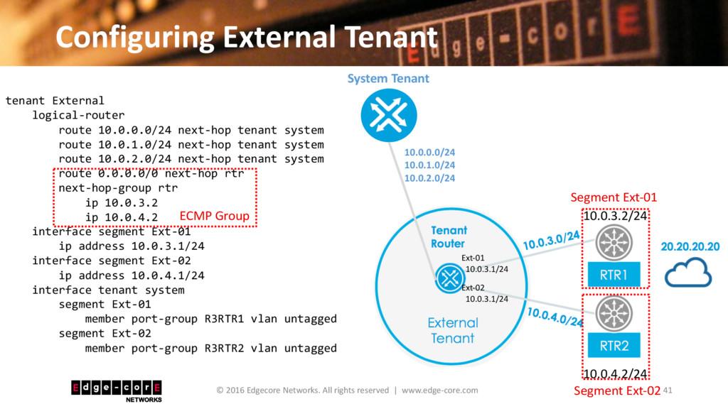 Configuring External Tenant 41 © 2016 Edgecore ...