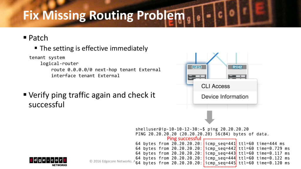 Fix Missing Routing Problem 47 © 2016 Edgecore ...