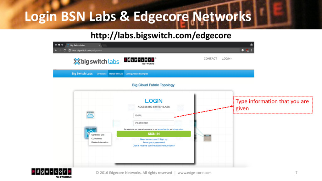 Login BSN Labs & Edgecore Networks 7 © 2016 Edg...