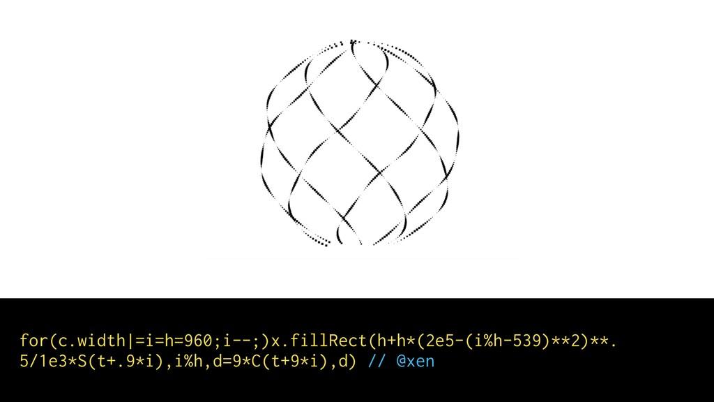 for(c.width =i=h=960;i--;)x.fillRect(h+h*(2e5-(...