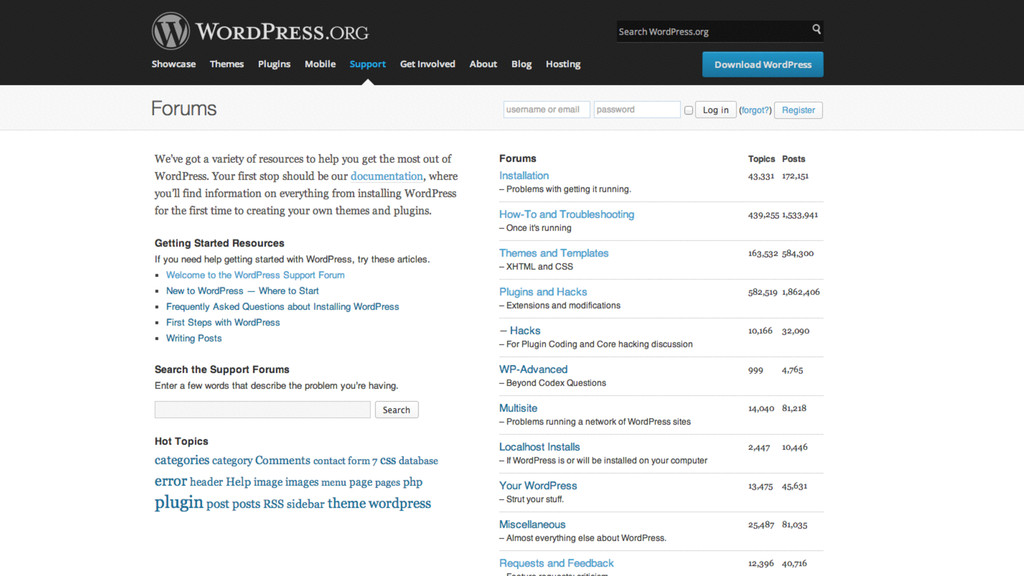 where. WordPress.com WordPress.org forums
