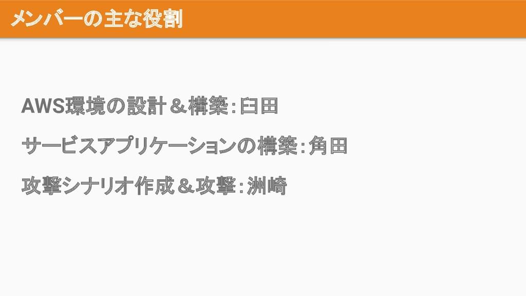 メンバーの主な役割 AWS環境の設計&構築:臼田 サービスアプリケーションの構築:角田 攻撃シ...