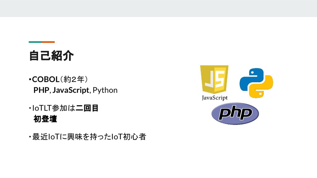 自己紹介 ・COBOL(約2年)  PHP, JavaScript, Python ・IoTL...