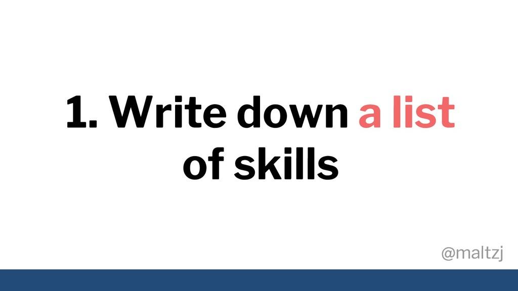 @maltzj @maltzj 1. Write down a list of skills