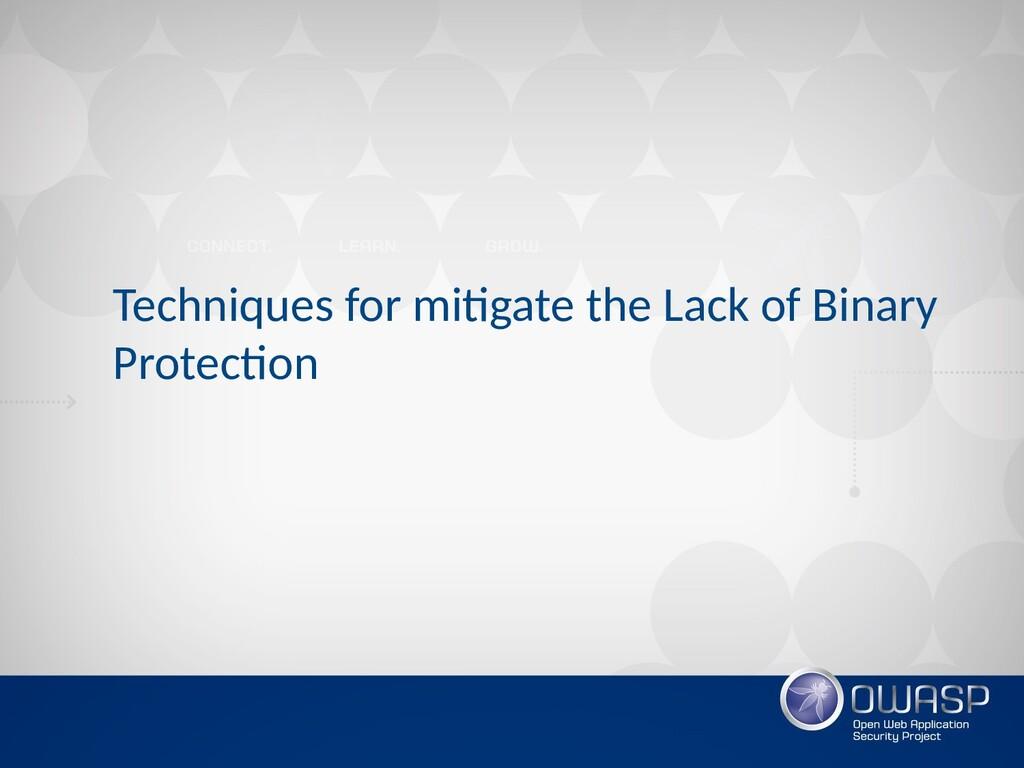 Techniques for mitigate the Lack of Binary Prot...